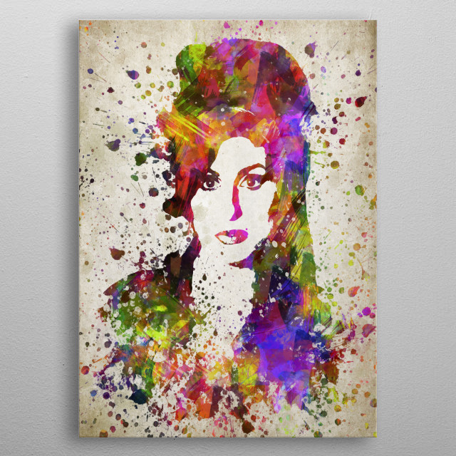 Colorful digital drawing of Amy Winehouse, an English singer-songwriter known for her deep contralto vocals.  metal poster