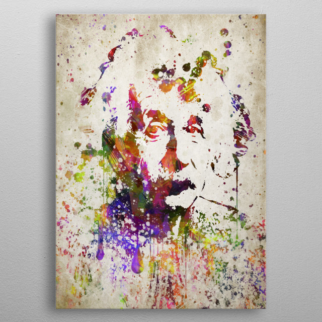 Colorful digital drawing of Albert Einstein a German-born theoretical physicist.  metal poster