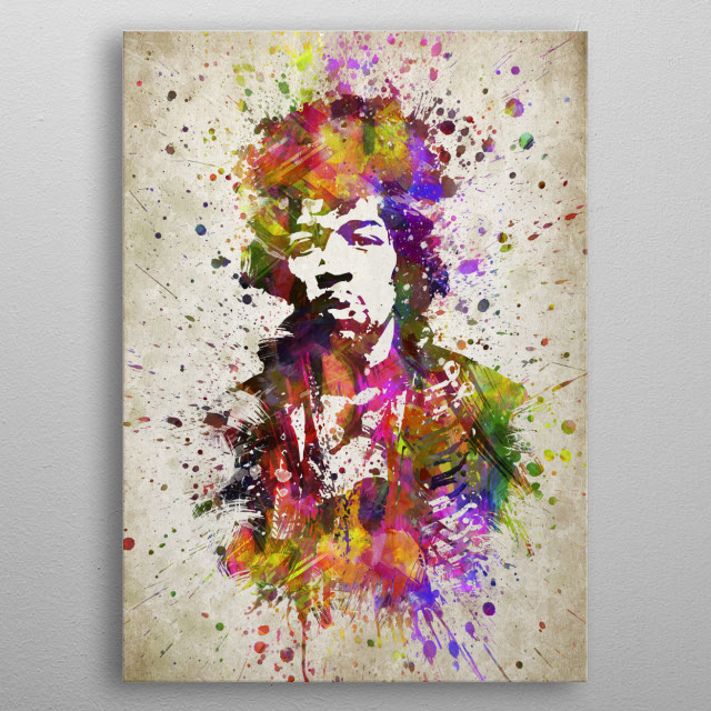 Colorful digital drawing of Jimi Hendrix a American musician, singer, and songwriter and one of the most celebrated musicians.  metal poster