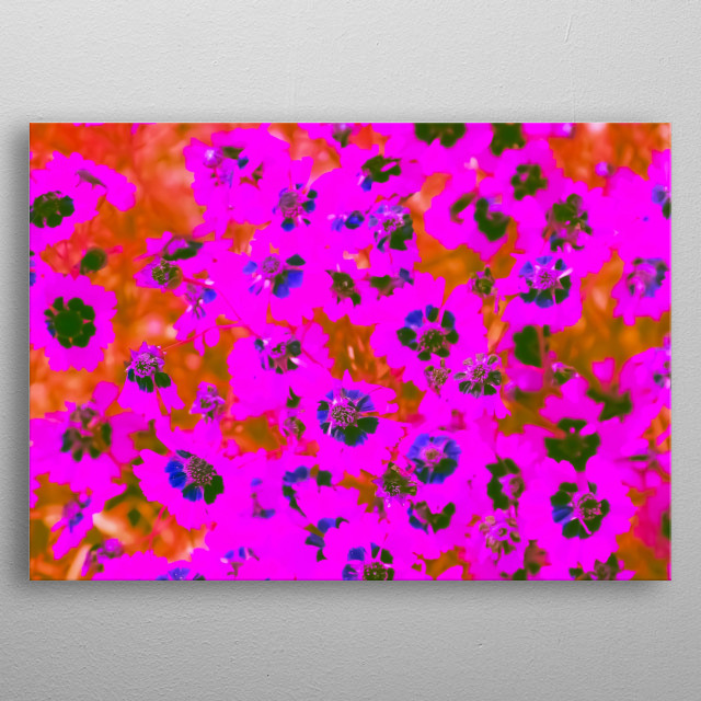 blooming pink flowers pattern abstract background metal poster
