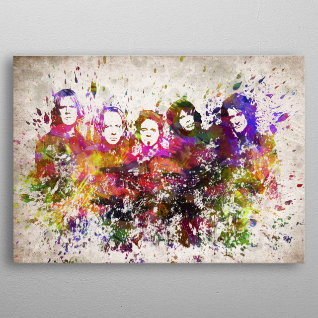 Colorful digital drawing of Aerosmith an American rock band also referred to as The Bad Boys from Boston,  metal poster