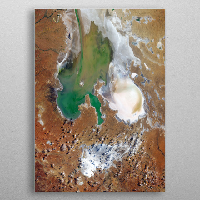 rare case of water reaching Lake Eyre salt lake in Australia seen from space metal poster