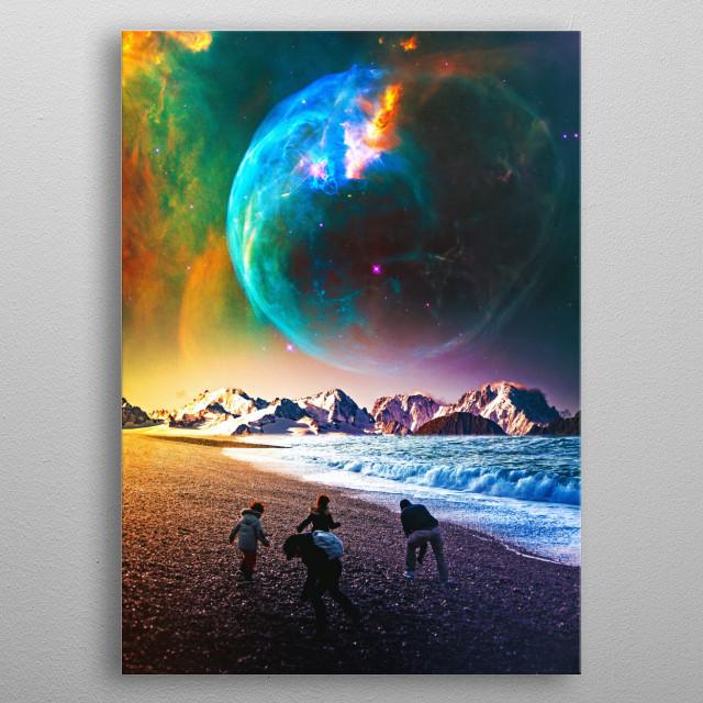 surreal scifi digital art metal poster