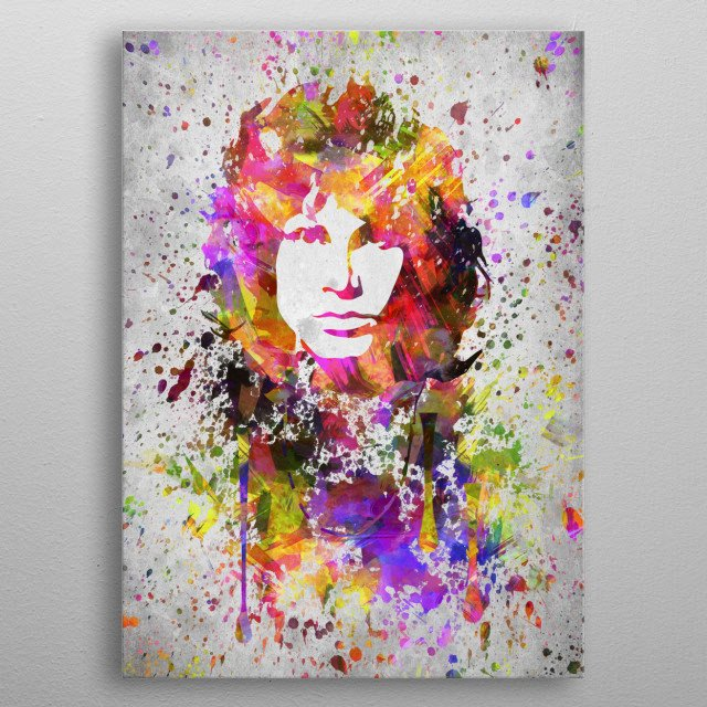 Colorful digital drawing of Jim Morrison,  an American singer and songwriter best remembered as the lead vocalist of the Doors. metal poster
