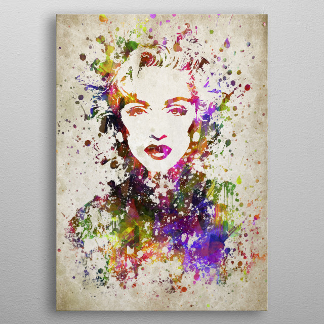 Colorful digital drawing of Madonna, is an American singer, songwriter, actress, and businesswoman. metal poster
