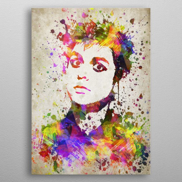 Colorful digital drawing of Billie Joe Armstrong, an American singer-songwriter of the punk rock band Green Day.  metal poster
