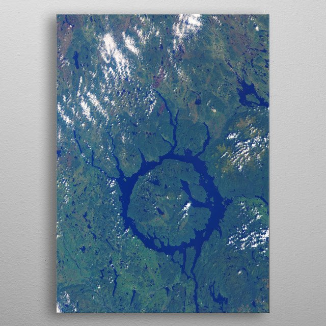 Satellite image from Lac Manicouagan in Canada in summer metal poster