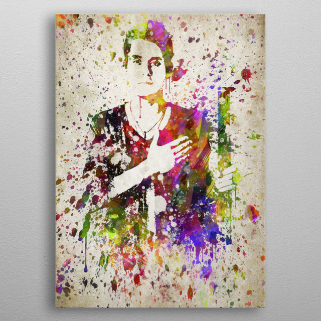 Colorful digital drawing of John Mayer, is an American singer-songwriter and music producer.  metal poster