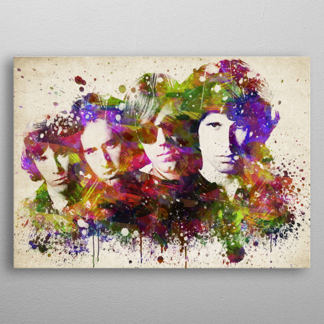 Colorful digital drawing of the Doors, an American rock band formed in 1965 in Los Angeles, California.  metal poster