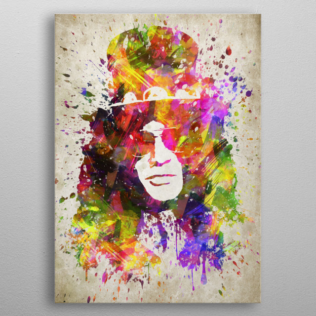 Colorful digital drawing of Slash, is a British-American musician and songwriter.  metal poster