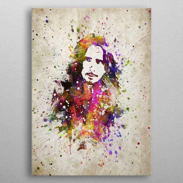 Colorful digital drawing of Chris Cornell, was an American musician.  metal poster