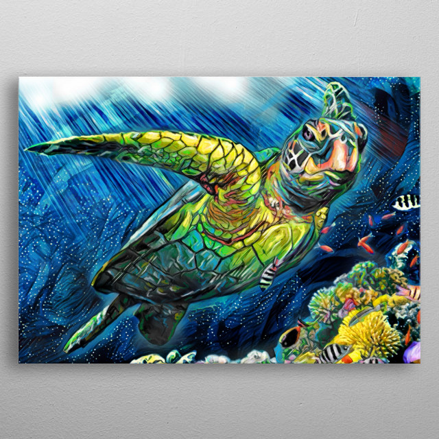 TURTLE LOVERS!! I created this piece using many different stroke styles to reflect the feeling of the art. metal poster