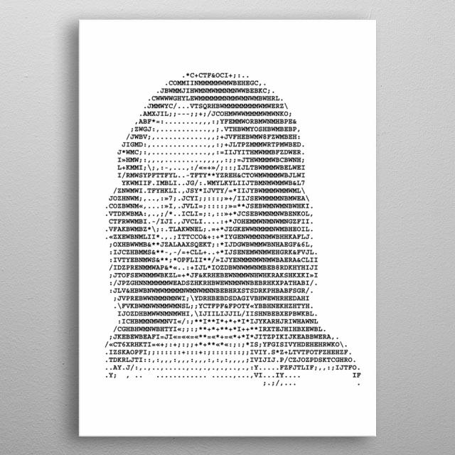 Mona Lisa stylized portrait ASCII art original version. Code. Vector illustration. - Vector  metal poster