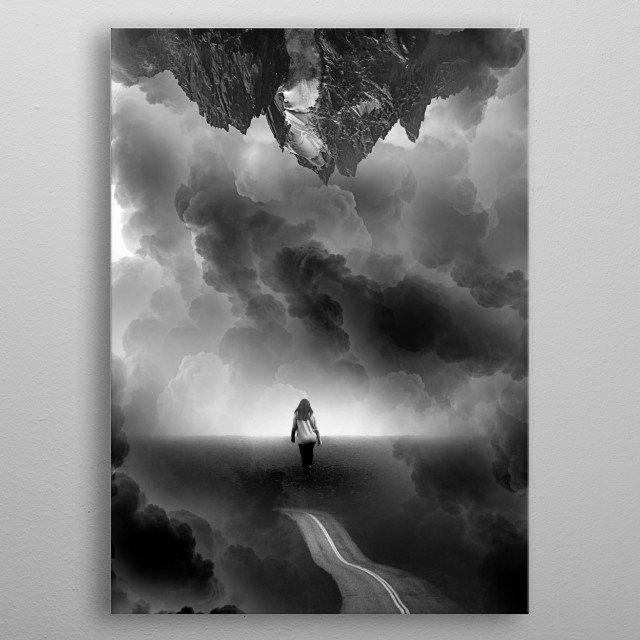 Call me Home a Black and White Collage. A black and white abstract journey of love, smokey clouds and mountain cliffs. metal poster