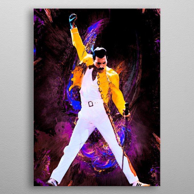 Art inspired by life and work Freddie Mercury. Artist of the rock band Queen. metal poster