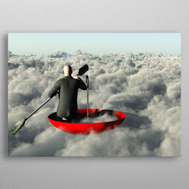 Surrealism. Man in a suit with paddle floats in red umbrella on clouds metal poster