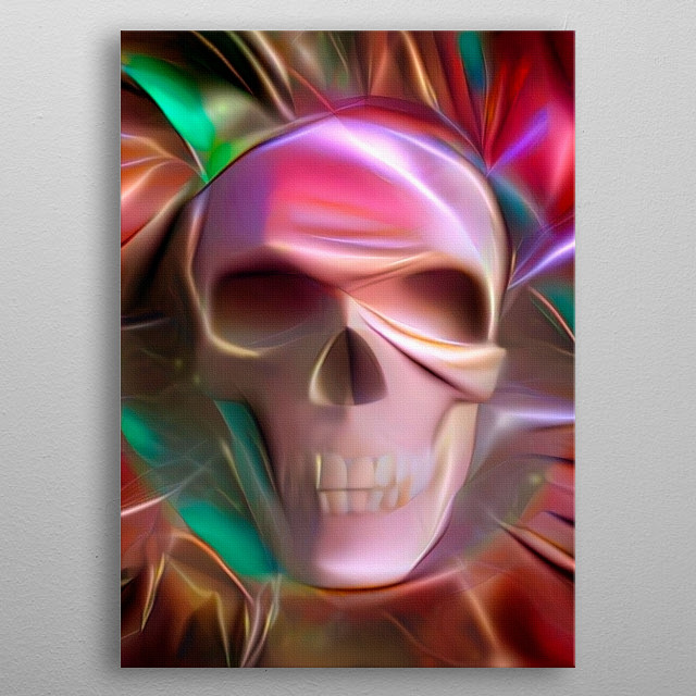 Symbolic colorful painting. Glowing skull metal poster