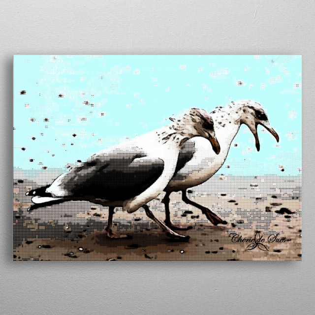 Two seagulls chatting on the sandy shoreline at the beach. metal poster