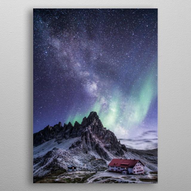 Milky way at night metal poster