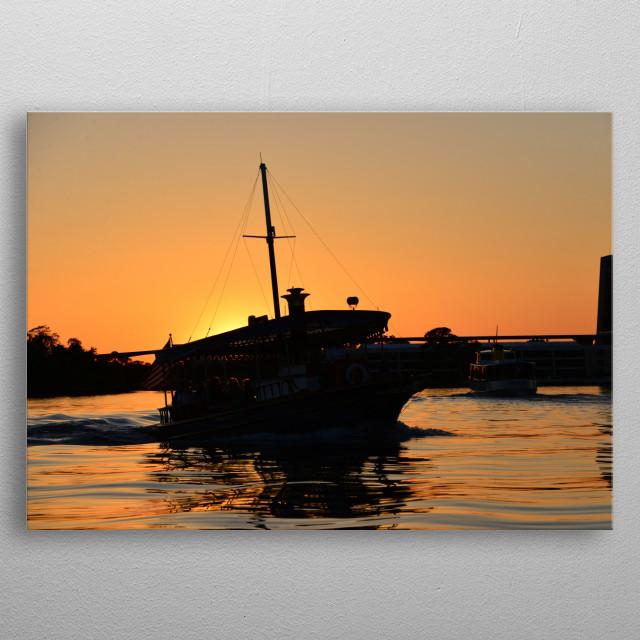 Photography of boats on Bay Lake within Walt Disney World Resort Florida.  metal poster