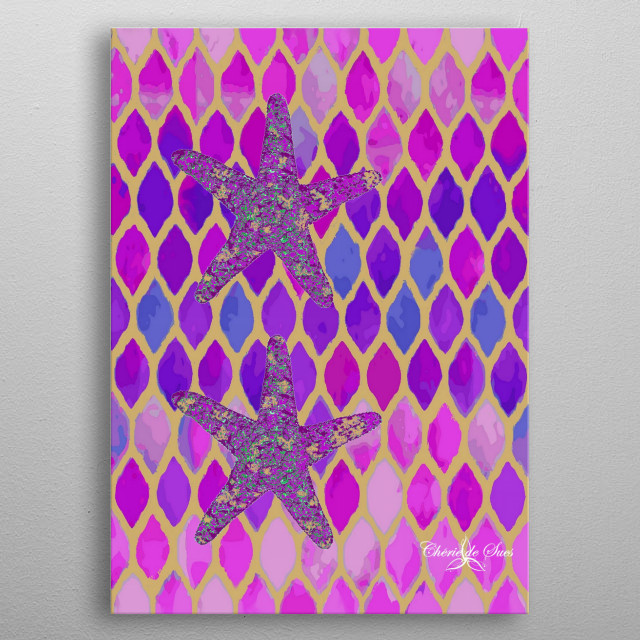 Stained glass window of violet, blue and gold hues with starfish for a home by the sea. metal poster