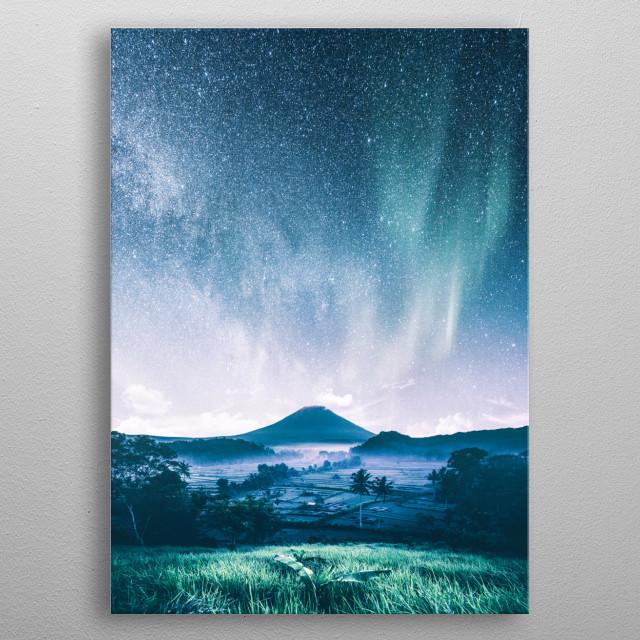 Volcano Under Aurora metal poster