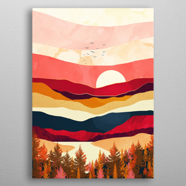 Abstract landscape of a scarlet spring with coral, pink, blue and birds metal poster