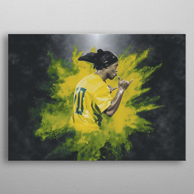 Vintage legend Ronaldinho illustration. A must have for all football fans. Get yours now quickly ! metal poster