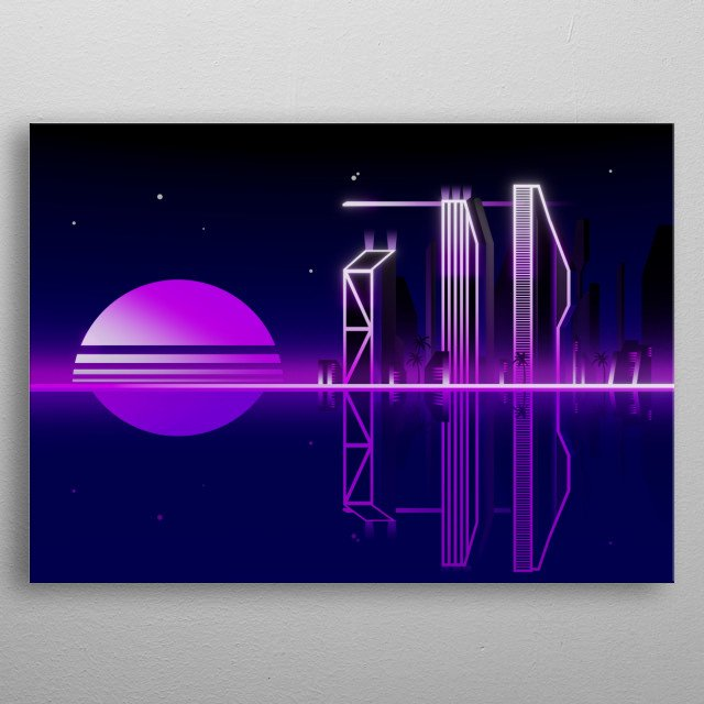 Miami at night merged with synthwave vibes. metal poster