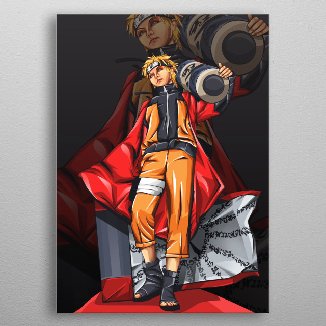 naruto is character from manga naruto created by masashi kishimoto.   in this art, naruto during sage mode with holding big ninjutsu scroll metal poster