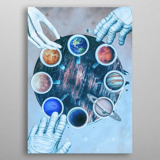 The Solar System is the planetary system to which the Earth belongs. It is composed of a star, the Sun, and celestial objects gravitating... metal poster