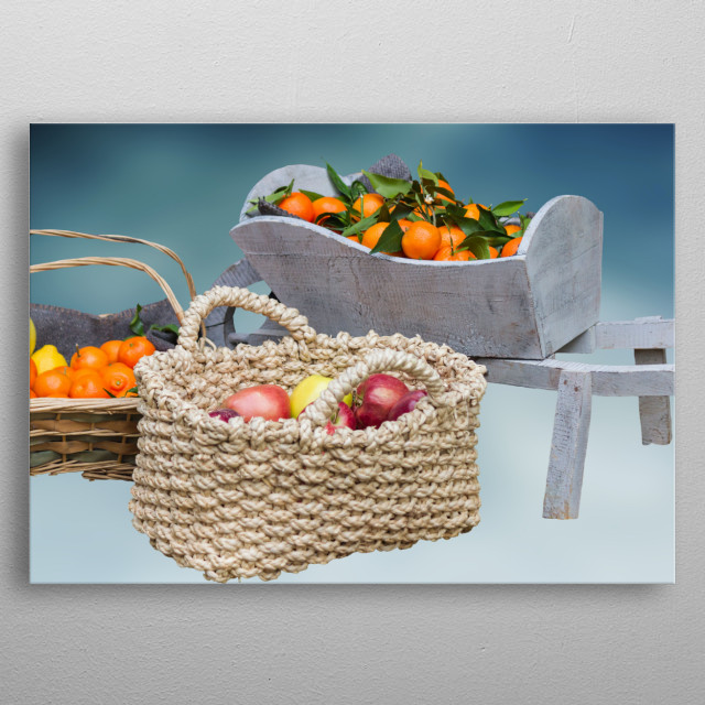 fruit and vegetables in the basket metal poster