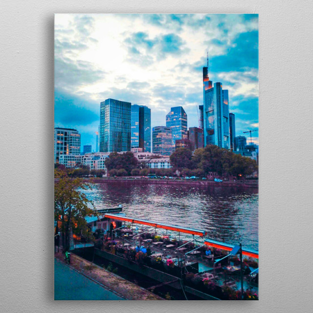 Frankfurt am Main ( German language ) the largest city of the German federal state of Hessen . about 5.7 million people. metal poster