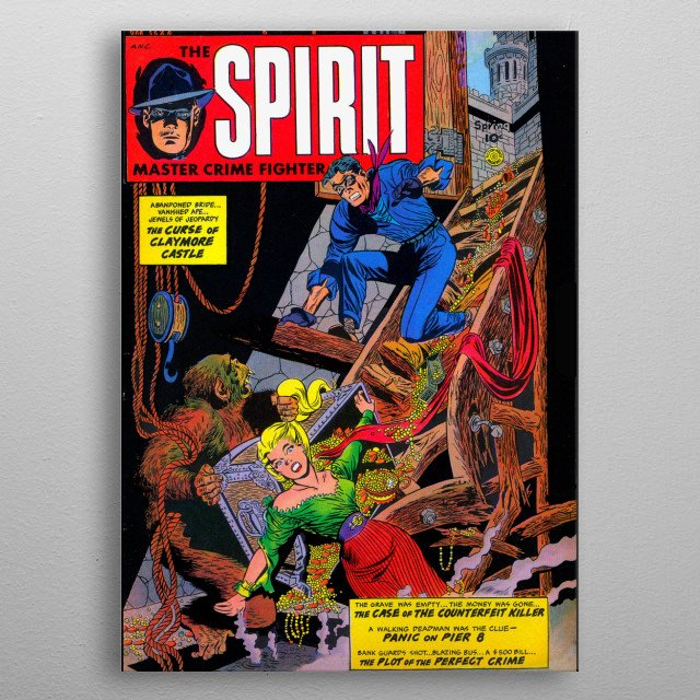 Cover of THE SPIRIT, a famous character in the golden era of comics. metal poster