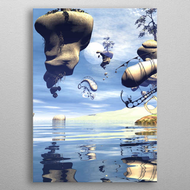 Awesome flying rocks over the ocean metal poster