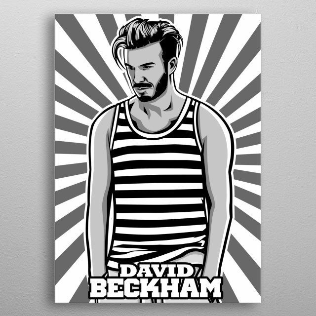 David Beckham in cartoon vector art with grayscale color metal poster