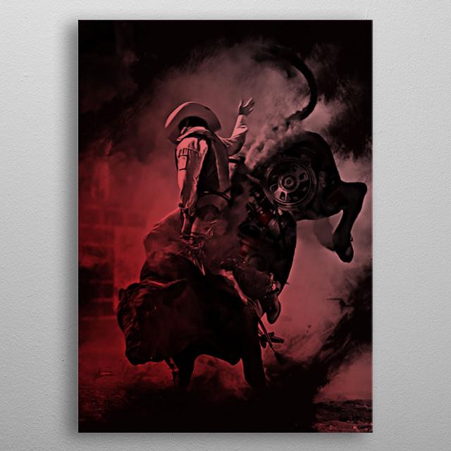 Bio-Mechanical Bull Rider metal poster