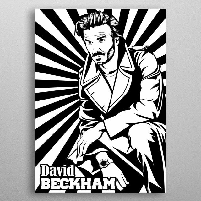 David Beckham in Line Art portrait with Black White line color metal poster