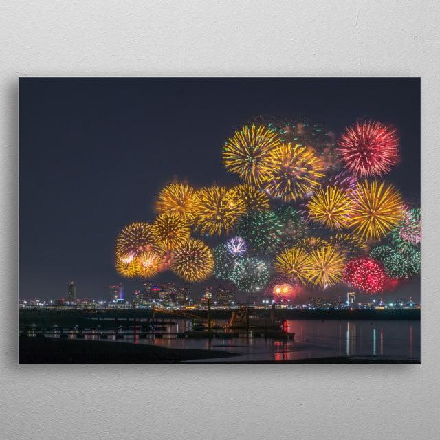 fireworks in Boston. metal poster