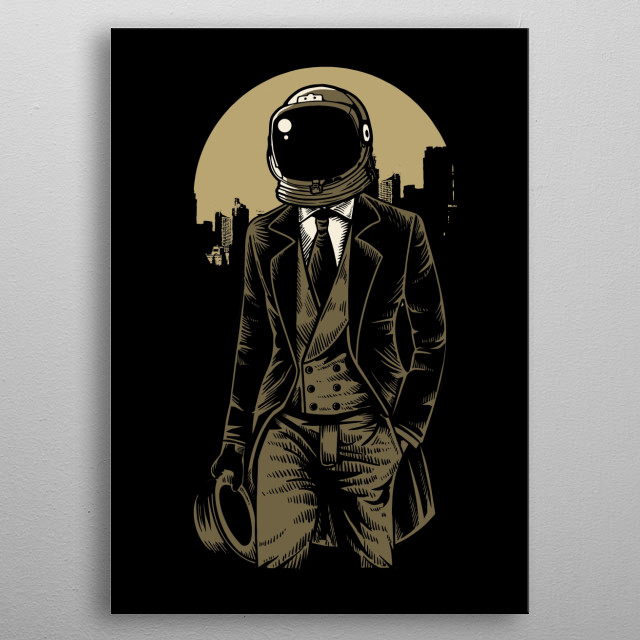 Classic Astronaut painting. metal poster