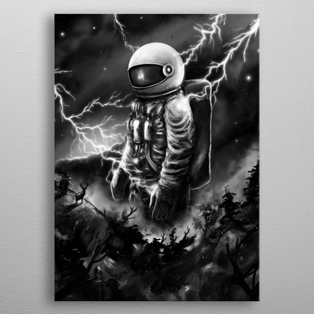 Painting of astronaut walking in a landscape. metal poster