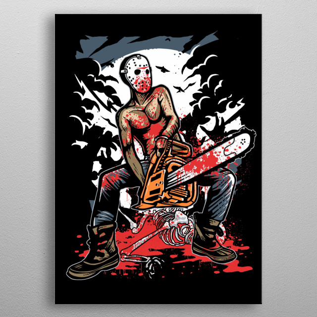 Chainsaw Killer painting. metal poster