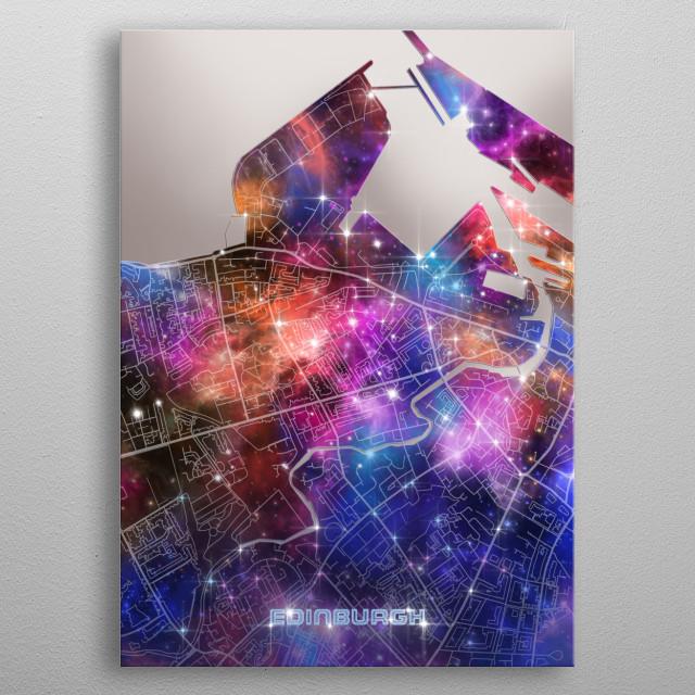 Edinburgh city map inspired by decorative,modern,galaxy,universe,nebula,pop art design metal poster