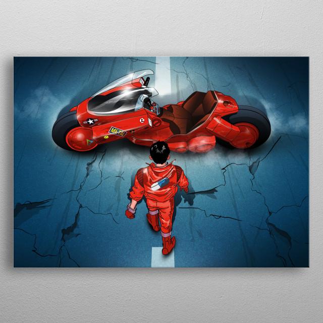 Kaneda and his bike. Inspired by the Akira manga metal poster