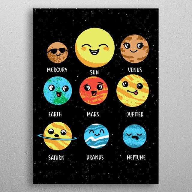 A cute solar system - collection of Displates for kid's rooms and people who love the solar system. metal poster