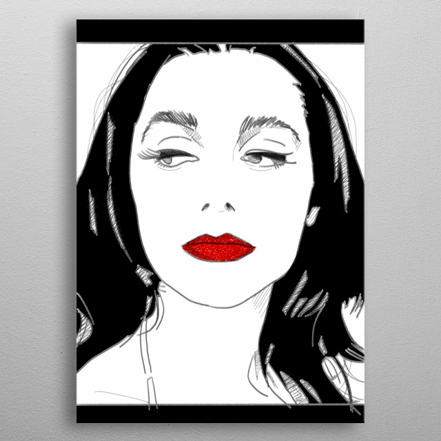 Black and white (and red) drawing portrait of mighty PJ Harvey.  metal poster