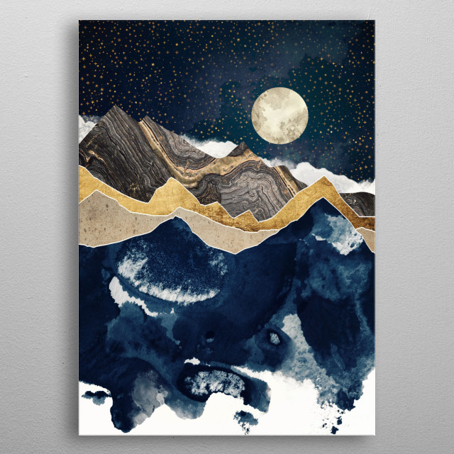 Abstract landscape of winter at night with copper, blue and white metal poster