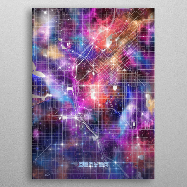 Denver city map inspired by decorative,colorful,universe,galaxy,nebula,pop art design metal poster