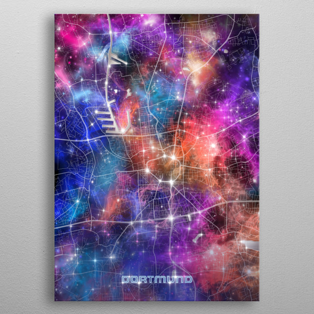 Dortmund city map inspired by decorative,colorful,universe,galaxy,nebula,pop art design metal poster