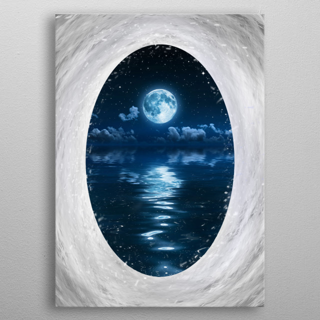 A dreamy fantasy art piece with a portal leading to an open ocean at night. metal poster